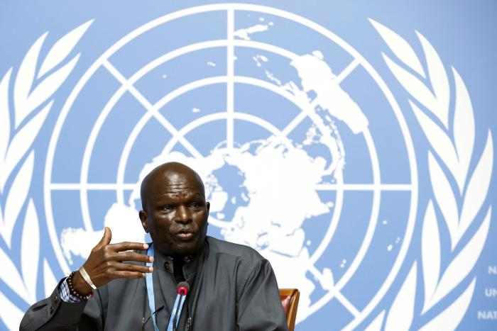 Doudou Diene, President of the UN Commission of Inquiry on Burundi, speaks at a press conference at the European headquarters of the United Nations in Geneva, Switzerland, September 5, 2018.