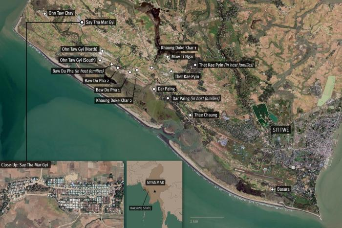 A satellite image showing locations of Rohingya camps in Sittwe, Myanmar