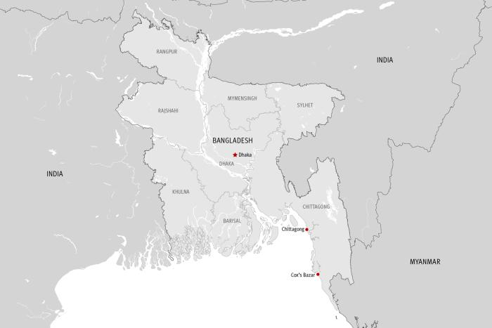 A map showing the provinces of Bangladesh