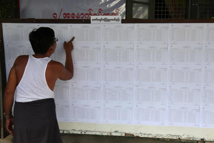 A resident checks voting lists at an administrative office in Yangon ahead of Myanmar's upcoming general election, July 25, 2020.