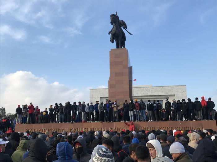 Protesters gathered on Ala Too Square in Bishkek, Kyrgyzstan's capital on October 6, 2020, two days after a disputed parliamentary election.