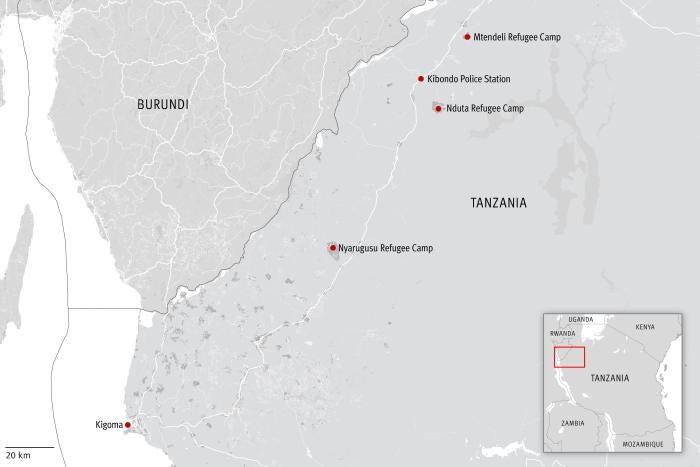 Carte de la zone frontalière entre le Burundi et la Tanzanie.