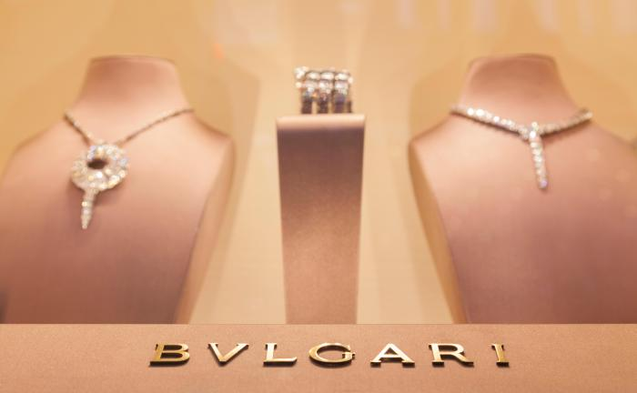 Two necklaces displayed in a Bulgari store