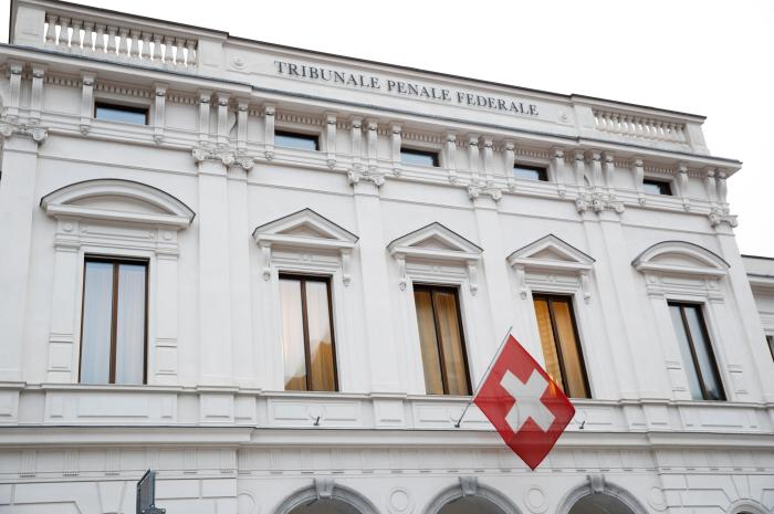 Switzerland's national flag flies over the entrance of the Swiss Federal Criminal Court (Bundesstrafgericht) in Bellinzona, Switzerland March 5, 2020.