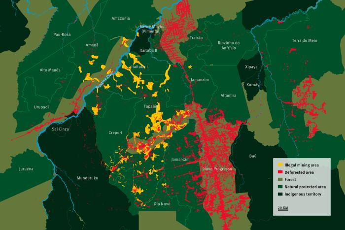 Map of illegal mining areas in the Amazon