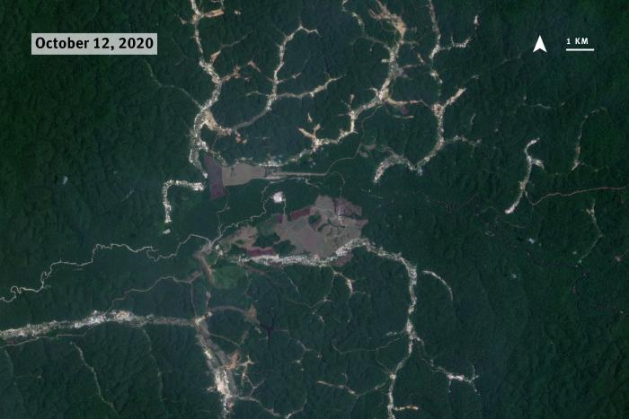 A satellite image of mining sites in the Amazon