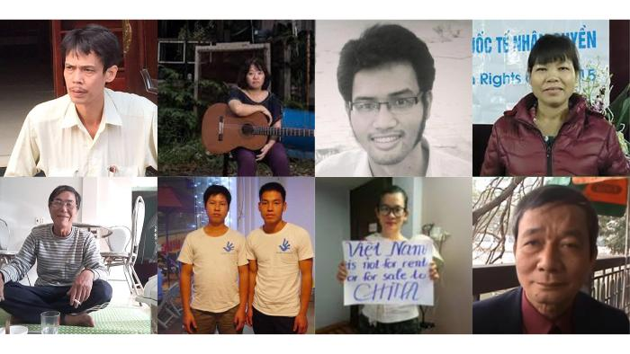Vietnamese Political Detainees: Pham Doan Trang; Can Thi Theu and her sons Trinh Ba Phuong and Trinh Ba Tu; Dinh Thi Thu Thuy; Pham Chi Dung; Nguyen Tuong Thuy; Le Huu Minh Tuan; Tran Duc Thach