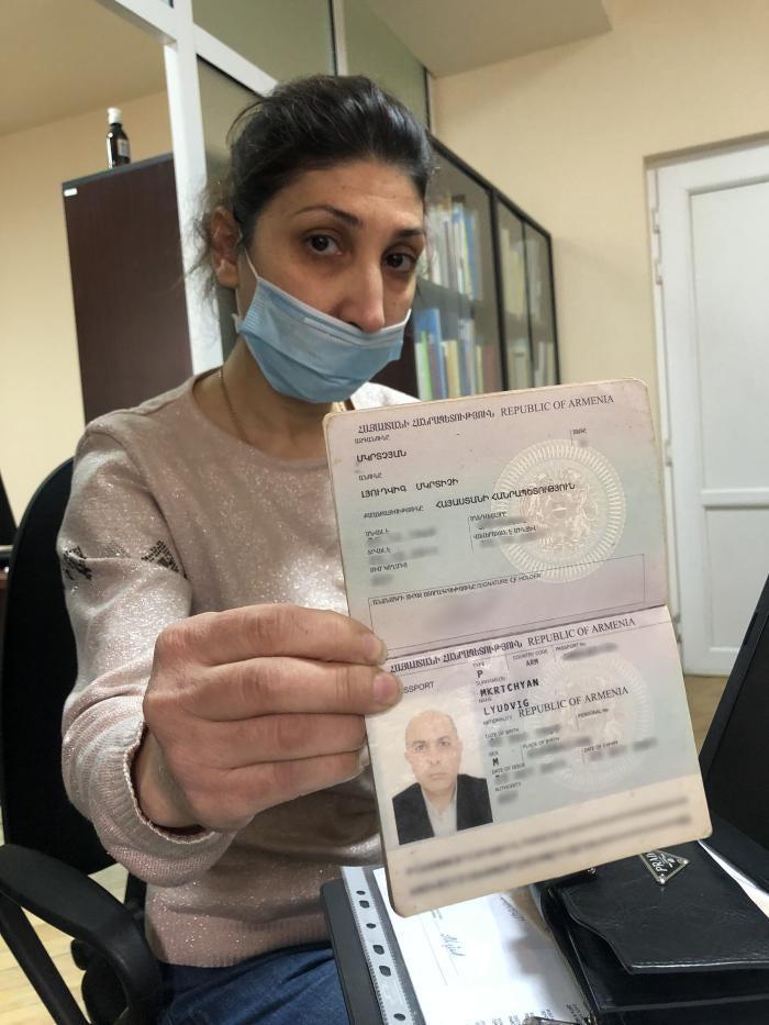 Hranush Shahbazyan, spouse of Ludvig Mkrtchyan, show her husband's passport to Human Rights Watch. Yerevan, November 2020.