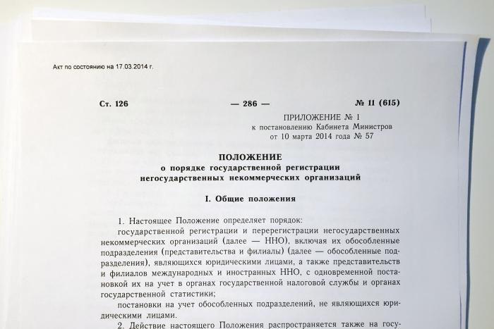 The 2014 Cabinet of Ministers Decree on the procedure for state registration of nongovernmental non-profit organizations.