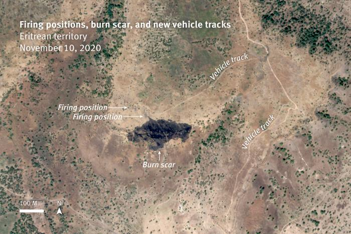 Analysis of satellite imagery shows new vehicle tracks leading to at least two firing positions established between November 6 and 9, 2020 that likely fired upon Humera on November 9 and 10. A burn scar is visible in front of one of these positions on satellite image recorded at 8:47 a.m. on November 10, that was not visible on satellite images collected the day before. The burned vegetation and resulting scar are created by unconsumed propellent ejected a short distance from a tank cannon.