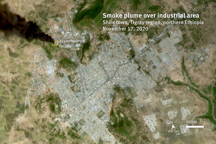 Satellite image recorded on November 17, 2020 at 11:04 a.m., shows a smoke plume rising up from a warehouse in an industrial area, in Shire, Tigray region, Ethiopia. The visible damage on satellite imagery recorded after the attack is consistent with the damage observed on videos and photos posted of the affected factory.