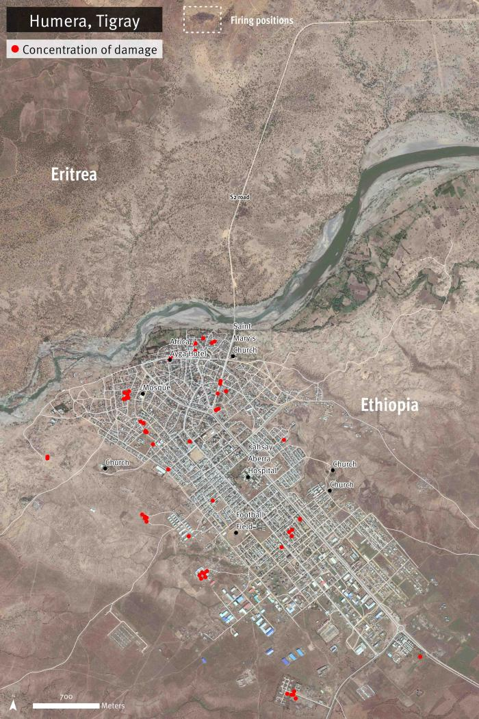 Satellite image recorded on November 10, 2020 shows buildings and streets damaged in Humera town, Tigray region, Ethiopia. The main concentrations of damage are evident on the area south of the primary S2 road. Additional damage is observed on streets northeast of Africa/Ayga Hotel, and a concentration of damaged buildings near Saint Mary's Church. Warehouses located on the outskirts of the town and other type of structures show severely damaged roofs. The damages reported are most likely an underestimate.