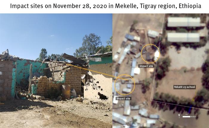 Photograph on the left shows damage to two buildings corresponding with damage visible from the satellite imagery shown on the right.