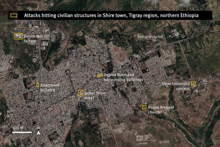 Location of attacks striking on or near civilian structures documented by Human Rights Watch in Shire, Tigray region, Ethiopia.