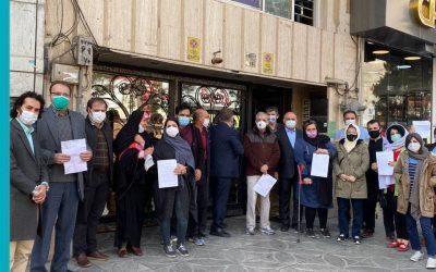 Iranian activists gathering to file a complaint at the Office of Judicial Electronic Services in Tehran, March 1, 2021.
