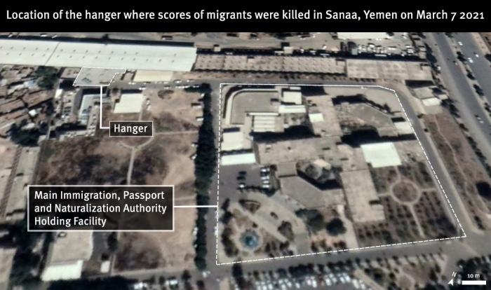 Image depicting the location of the hanger inside the Immigration Passport and Naturalization Authority Holding Facility in Sanaa, Yemen, where scores of Ethiopian migrants burned to death in a fire on March 7, 2021. Satellite image taken on November 15, 2020 © 2021 Maxar Technologies. Source Google Earth. Graphic: © 2021 Human Rights Watch