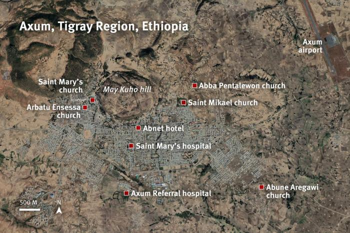 Key locations based on Human Rights Watch's research into events in Axum, Tigray region, Ethiopia in November 2020.