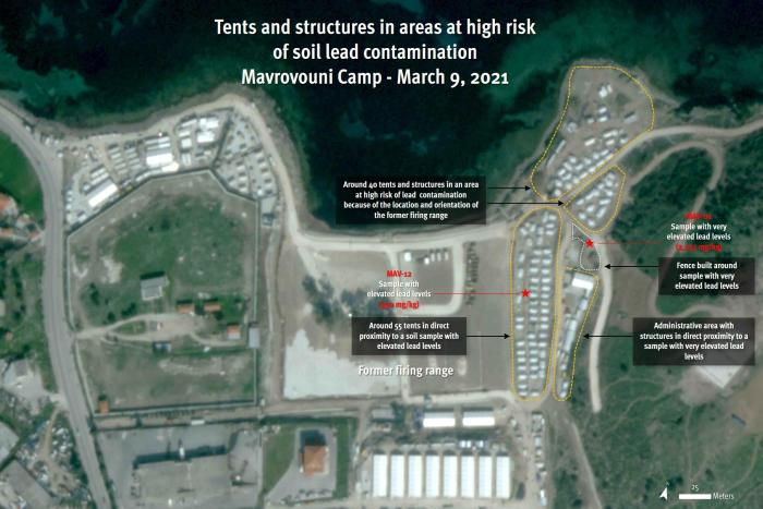 Satellite imagery recorded on March 9, 2021, shows at least 90 tents, five other structures and an administrative area in direct proximity to the areas where elevated lead levels were detected