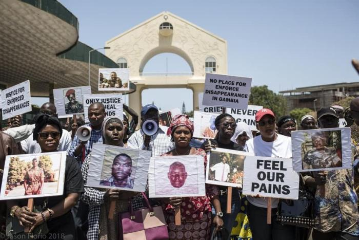 Families of Jammeh's victims in Banjul in June 2019.