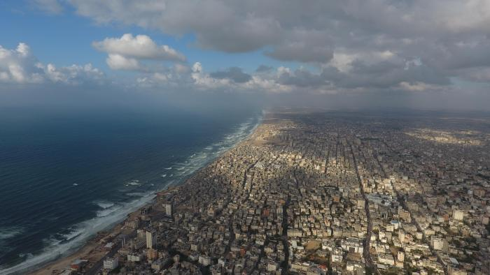An aerial shot of Gaza