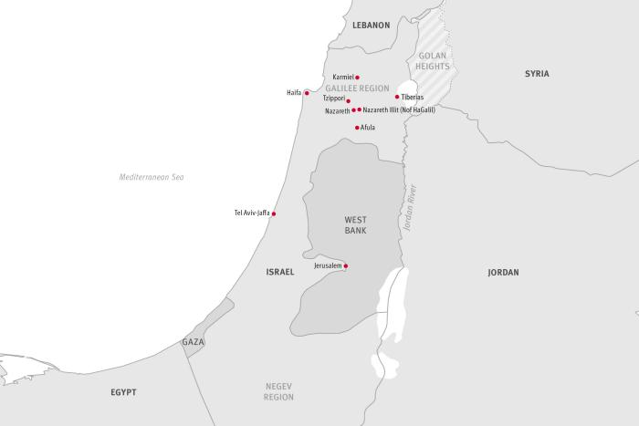 Overview map of Israel and Palestine