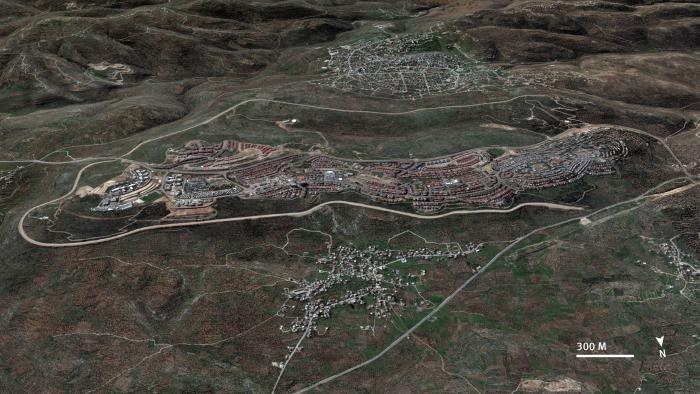 An aerial satellite image comparing Marda and Salfit