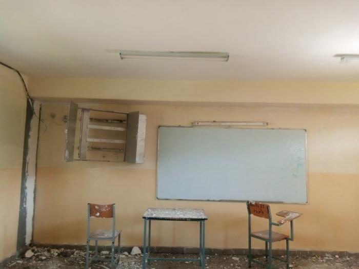 Damaged room at Atse Yohannes high school in Mekelle, Tigray.