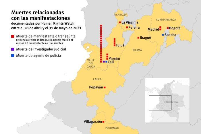 Muertes relacionadas con las manifestaciones documentadas por Human Rights Watch entre el 28 de abril y el 31 de mayo de 2021.