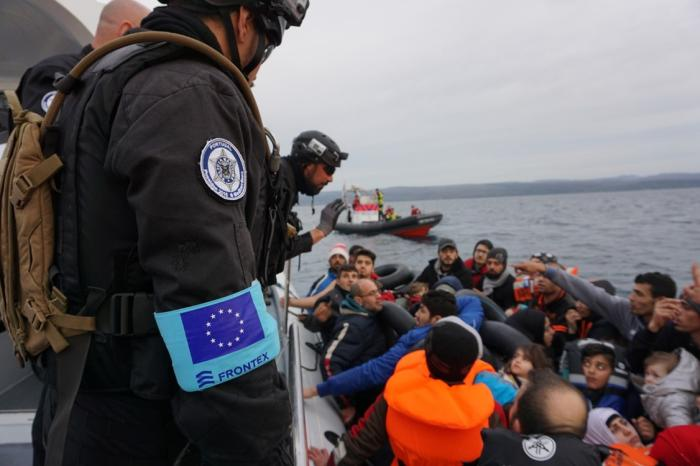 A Portuguese vessel in a Frontex operation in Lesbos, Greece, 2016.