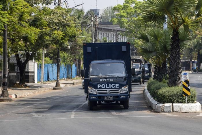 Police car is seen on a street during the military coup demonstration.
