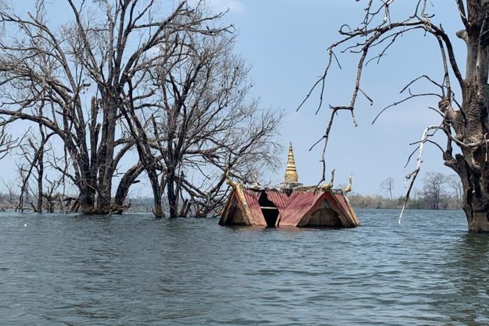 A religious shrine submerged underwater