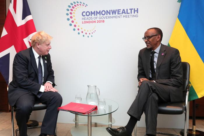 UK Prime Minister Boris Johnson (left), then Foreign Secretary, and Paul Kagame (right), President of Rwanda, meet during the Commonwealth Heads of Government Meeting in London, April 17, 2018.