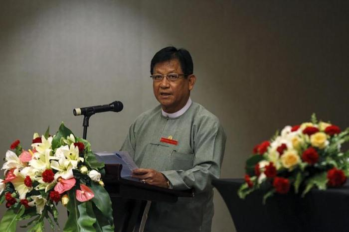 Tin Aye, chairman of Burma's election commission, gives a speech on the 2015 general elections at a hotel in Rangoon, Burma on June 26, 2015.