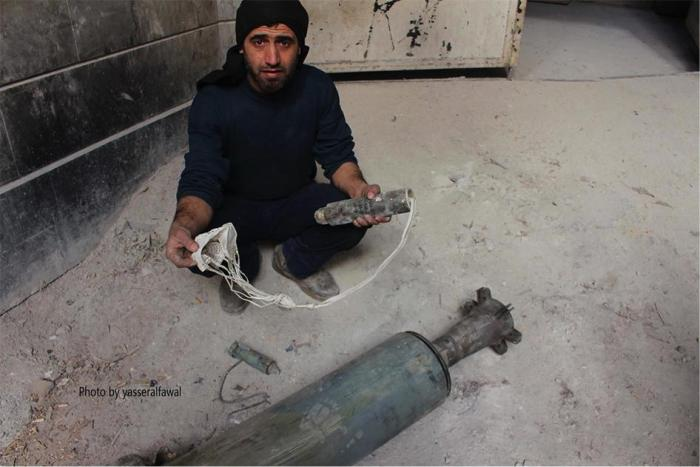 Remnants from a cluster munition that fell on a school in Douma on December 13, 2015.