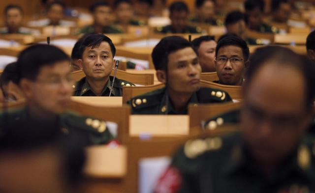 Representatives from the military members of parliament in Naypyitaw.