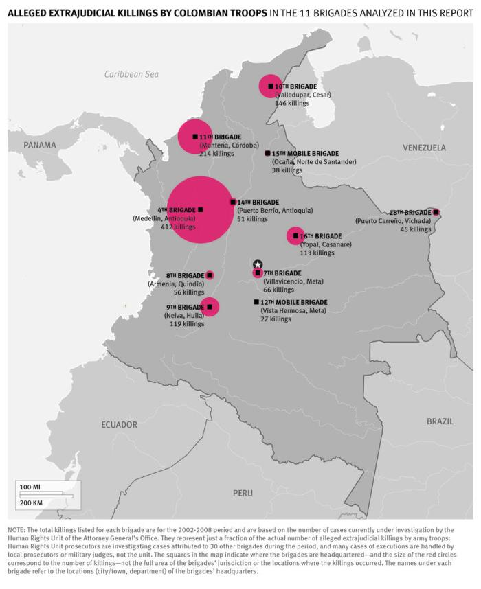colombia areas of killings