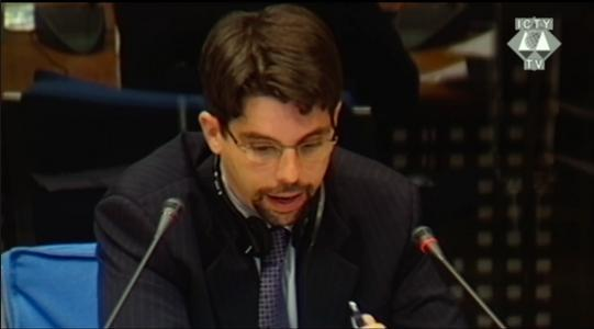 Human Rights Watch's Fred Abrahams testifying in the war crimes trial of Slobodan Milosevic.