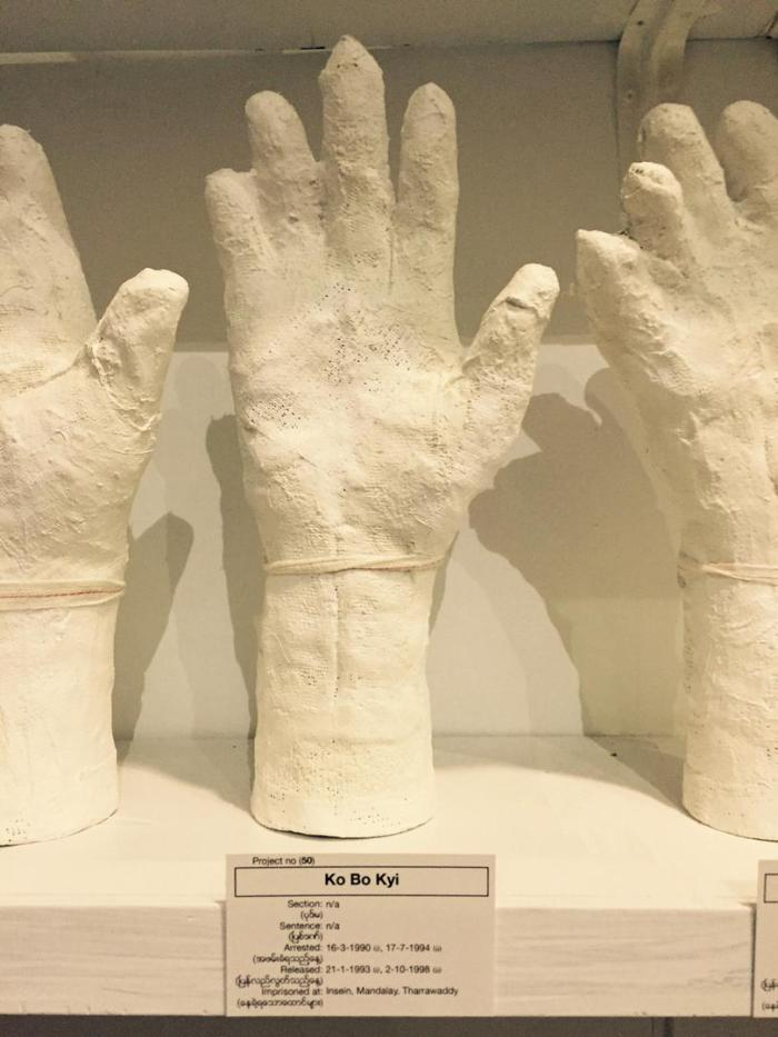Ko Bo Kyi's plaster hand at the A Show of Hands exhibit by Htein Lin.