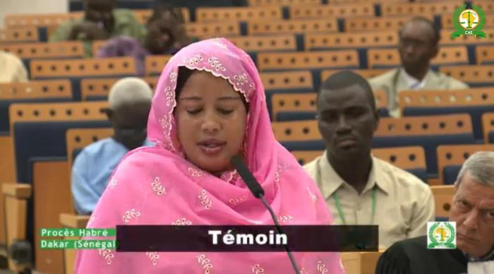 Haoua Brahim testifies during the trial of the former dictator of Chad Hissène Habré in Senegal on October 21, 2015.