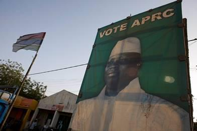 a billboard, with the image of President Yahya Jammeh