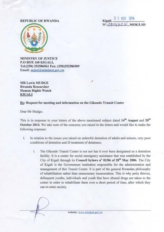 Letter from Minister of Justice