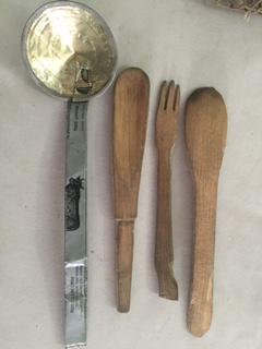 The utensils Souleymane Guengueng fashioned in prison and displayed in court.