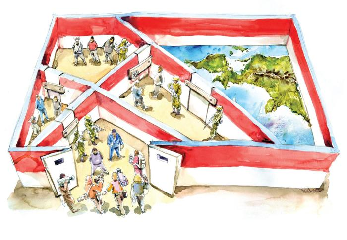 Cartoonist's depiction of Indonesian government restrictions on media freedom and rights monitoring in Papua.