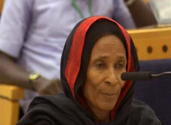 Khadidja Hassan Zidane testifies during the trial of the former dictator of Chad Hissène Habré in Senegal on October 19 and 20, 2015