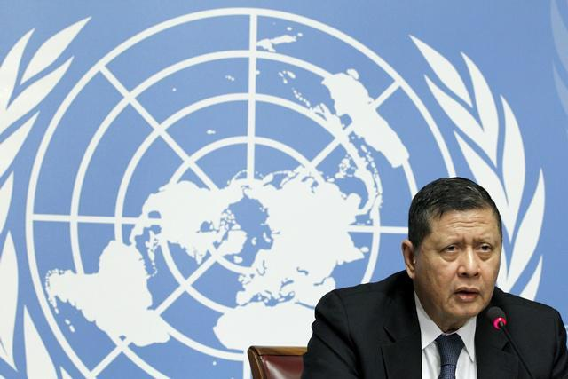UN Special Rapporteur Marzuki Darusman addresses a news conference on the situation of human rights in North Korea in Geneva on March 16, 2015.