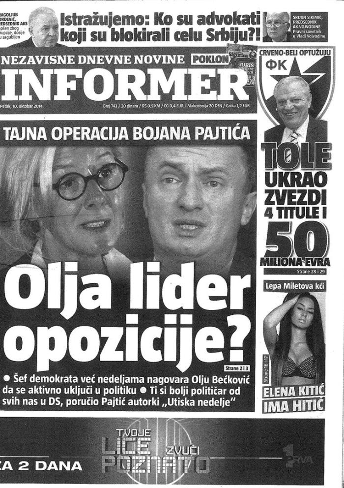 Serbian pro-government Informer daily newspaper