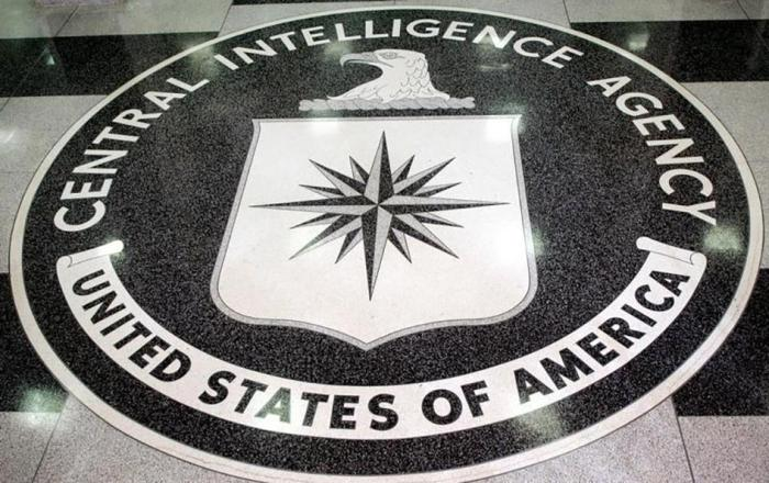 The logo of the U.S. Central Intelligence Agency is shown in the lobby of the CIA headquarters in Langley, Virginia on March 3, 2005