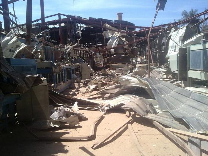 Destruction at the location of an air strike at Radfan Ceramics Factory, west of Sanaa, Yemen, on September 23, 2015.