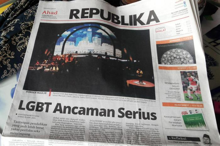 "The Conservative Islamic newspaper Republika ran the headline ""LGBT a Serious Threat,"" on its front page on January 26, 2016, following comments by the minister of higher education saying he wanted to ban LGBT student groups."