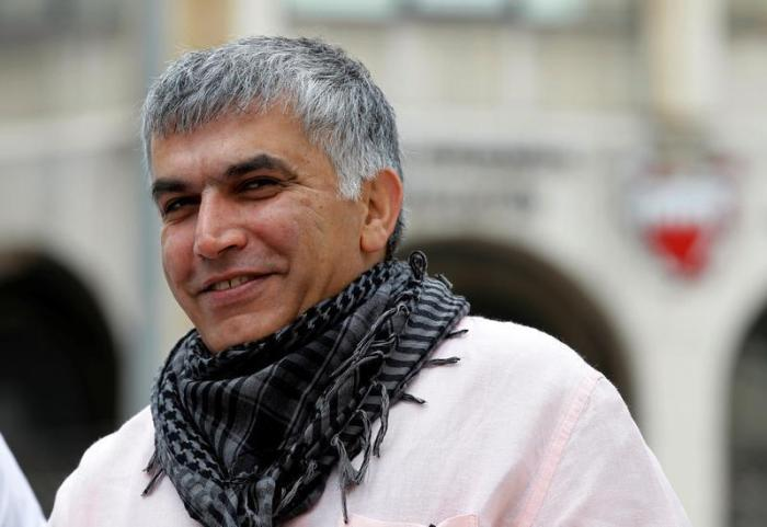 Bahraini human rights activist Nabeel Rajab arrives for his appeal hearing at court in Manama, February 11, 2015.